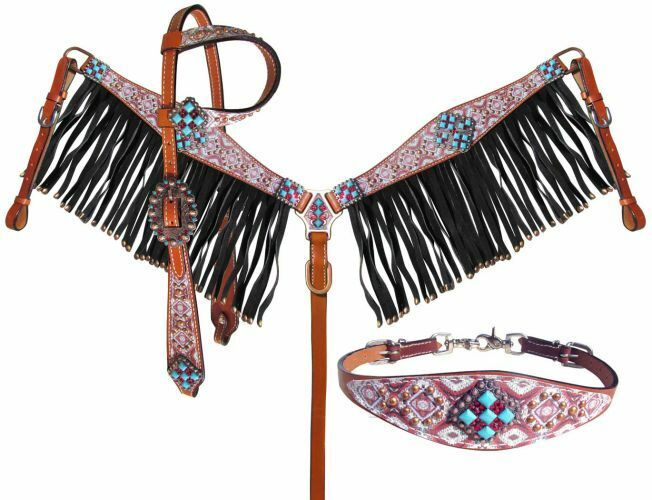 Showman LIGHT TEAL RED One Ear Bridle FRINGE BreastCollar Wither Strap Reins SET