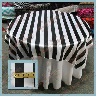 "White Table Overlay Stripe Charmeuse 3 inch Circle 58/"" X 58/"" Square Black"