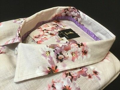 "1 Like No Other  3XL, Chest Measures 58"", Pink Flowered Linen Shirt, RRP £145"