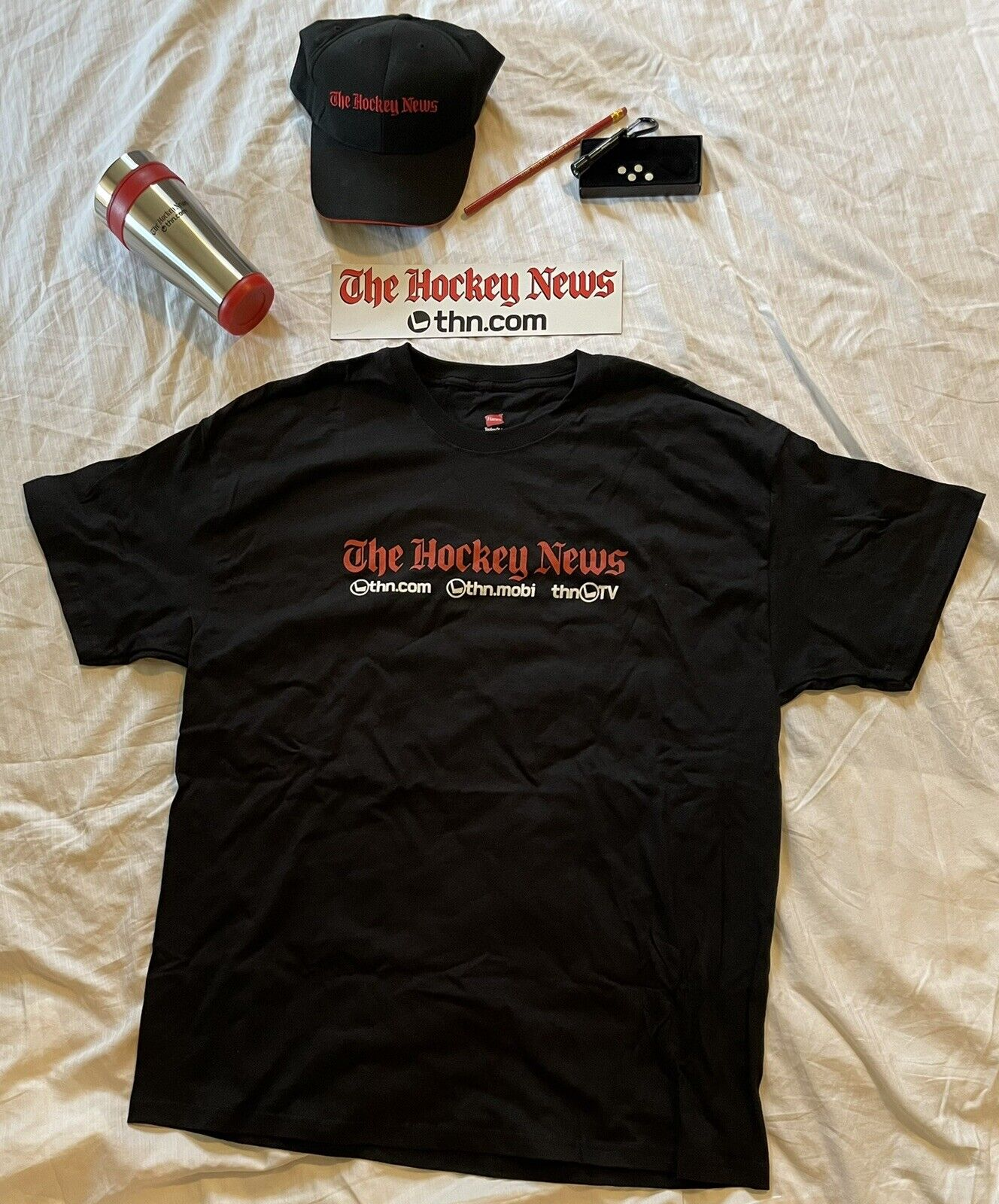 Stanley hockey news gift set new XL shirt, hat, cup, flashlight, magnet, pencil