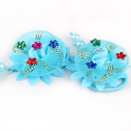 2x Spitze Rose Blume Haar Seile Elastische Scrunchie für Kid Kopf Tragen