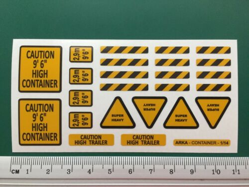 WARNING REFLECTIVE STICKERS container 40ft 20ft 1//14 Tamiya 56516 56330 56326