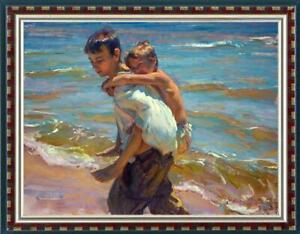 """Hand-painted Oil painting art Original Impressionism brother on Canvas 30""""x40"""""""