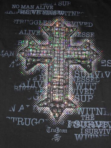 """L XL 2XL 3XL 4XL NEW Men/'s Black /""""No Man Alive/"""" Tru Icon Glitter Cross T-Shirt"""