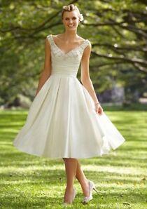 whiteivory bridal wedding dress tea length gown custom 2 4 6 8 10