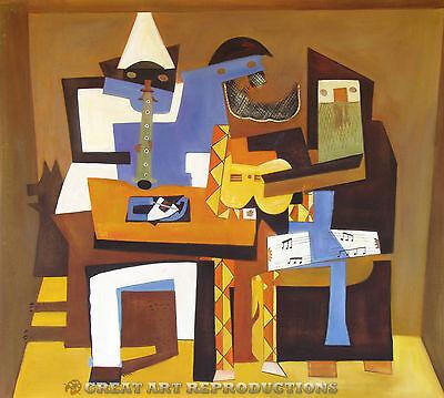 Three Musicians Pablo Picasso Reproduction In Oil 48 X43 Ebay