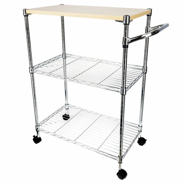 3-Tier Kitchen Cart Trolley Wire Rolling Utility Storage Rack Food Service  L9M6