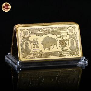 WR-24K-Gold-Dollar-Bar-Set-1901-US-10-Gold-Certificate-Bill-Note-Antique-Collect
