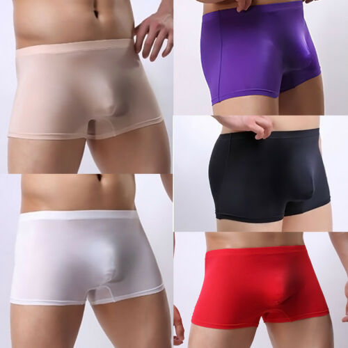 Men Sheer Mesh Boxer Briefs Underwear Soft Smooth Shorts Trunks Thong Underpants