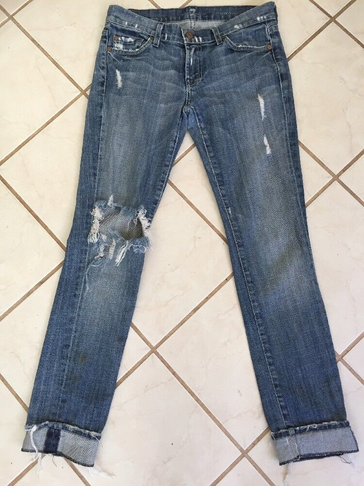 7 For All Mankind Light Wash Roxanne Super Distressed Cuffed Cropped Jeans Sz 26