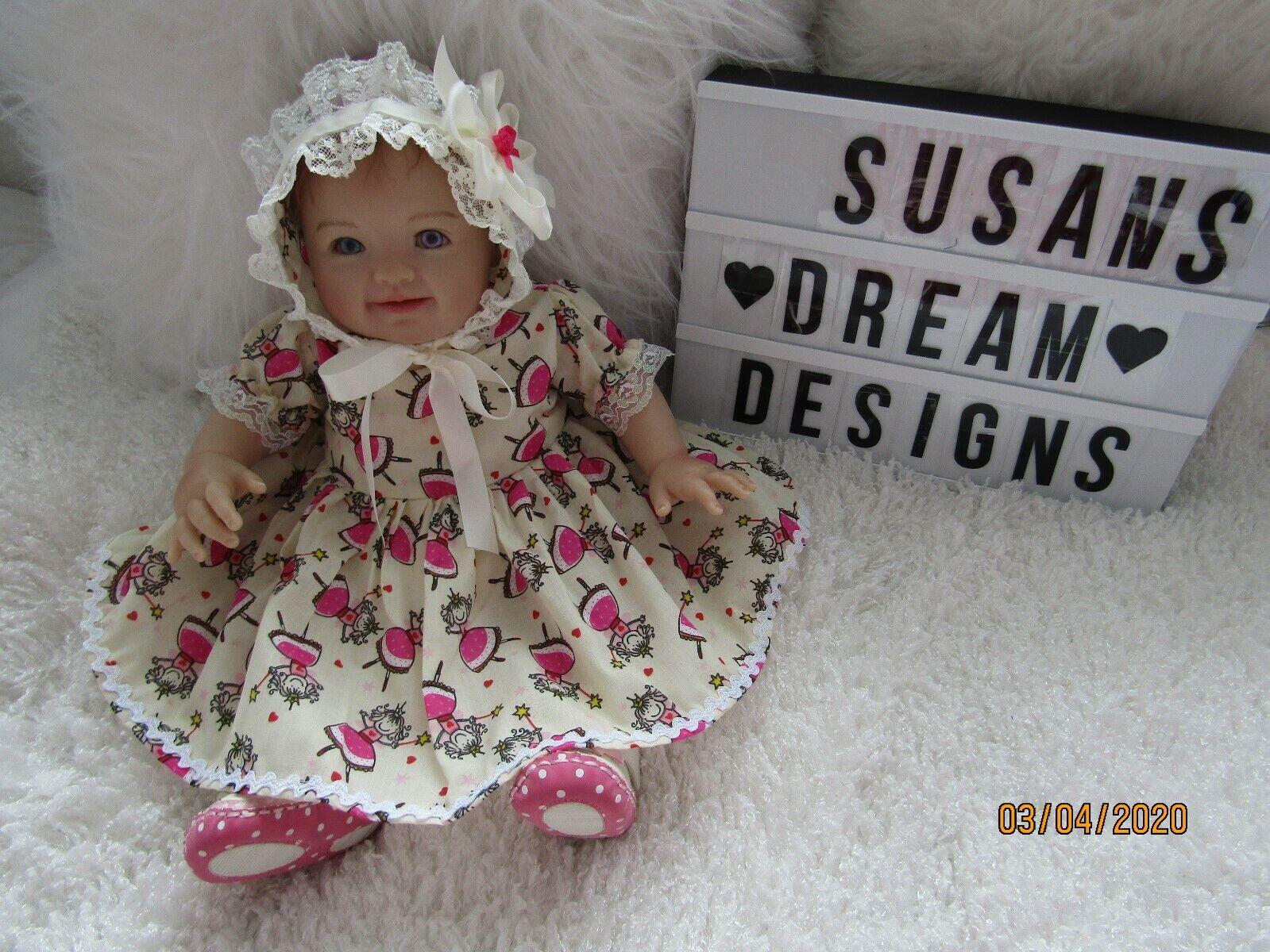 "CLOTHES 0-3MTHS BABY /17"" REBORN DOLL CREAM/CERISE FAIRY DRESS AND BONNET NEW"
