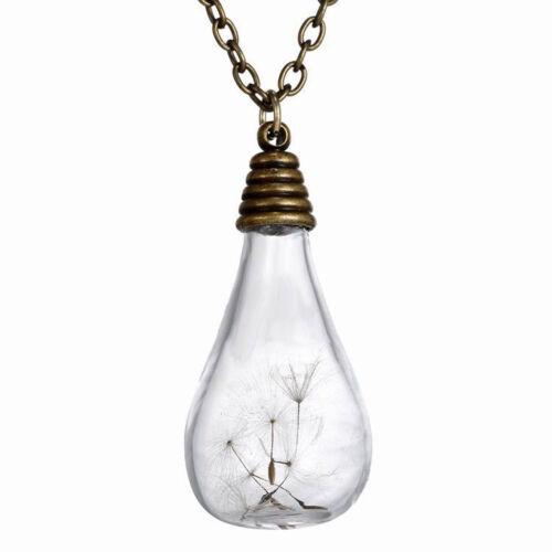 Handmade Make a Wish Real Dandelion Seed Mini bottle Vial Necklace Bronze
