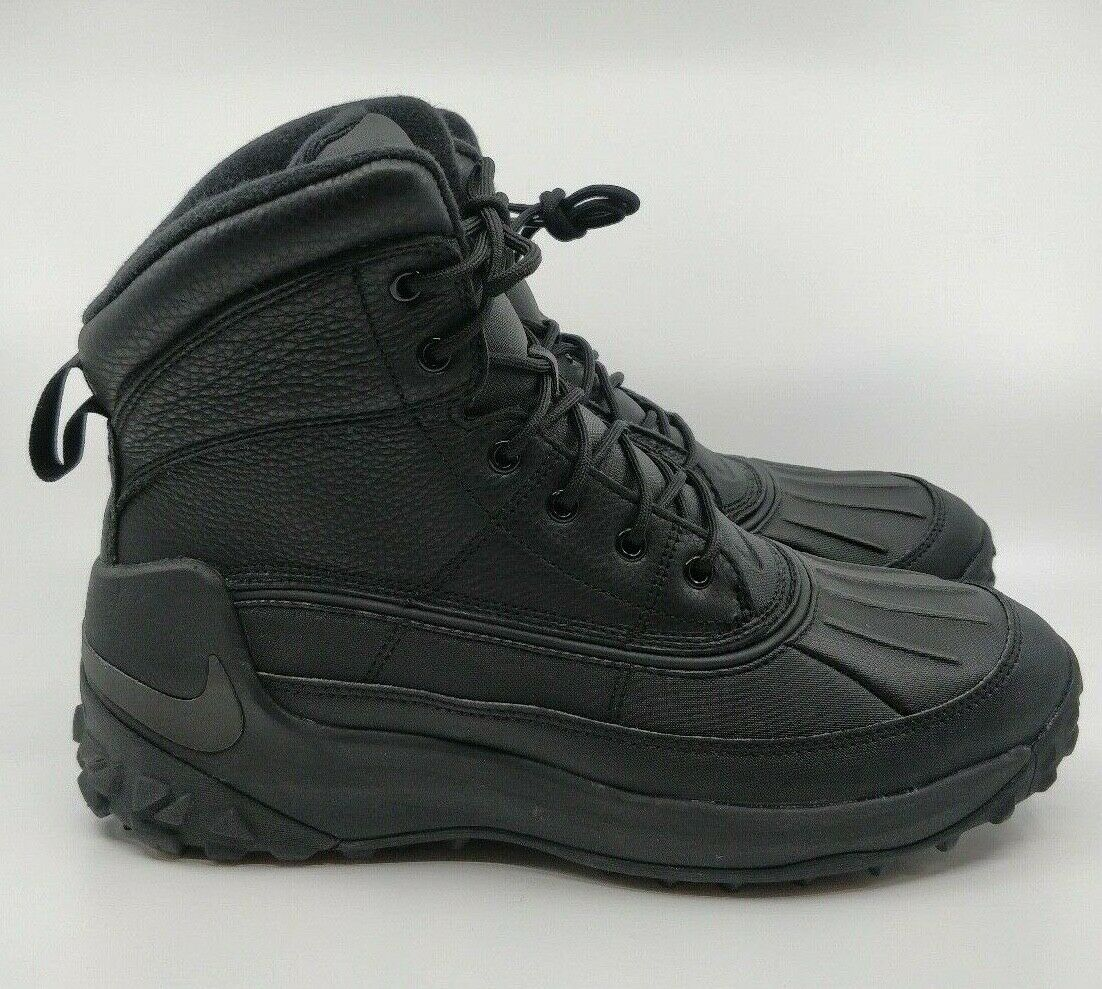 Nike Kynwood Triple Black Waterproof Leather Duck Boots 862504-001 Size 9