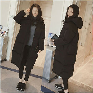 Women Lady Loose Puffer Long Coat Parka Jacket Hooded