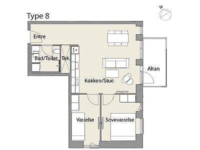 9000 vær. 3 lejlighed, m2 74, Kridtsløjfen