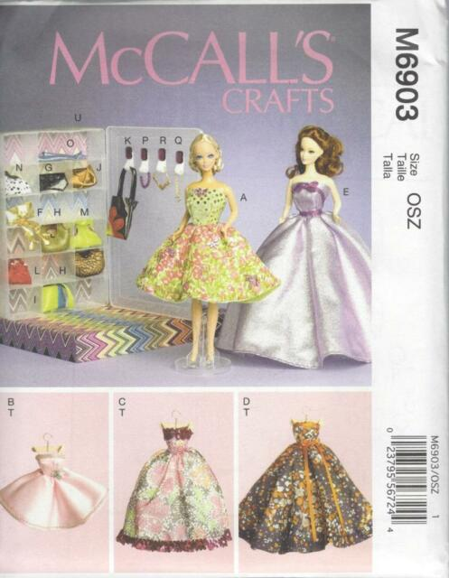 McCALL'S SEWING PATTERN CRAFTS 11 1/2 INCH FASHION DOLL CLOTHES & BOX M6903