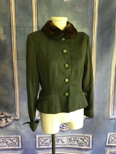 Vintage 1950s Green Wool Traveling Jacket with Min