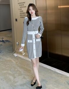 Chic Knit GOLD bouton col bateau à manches longues Houndstooth pull sweater dress