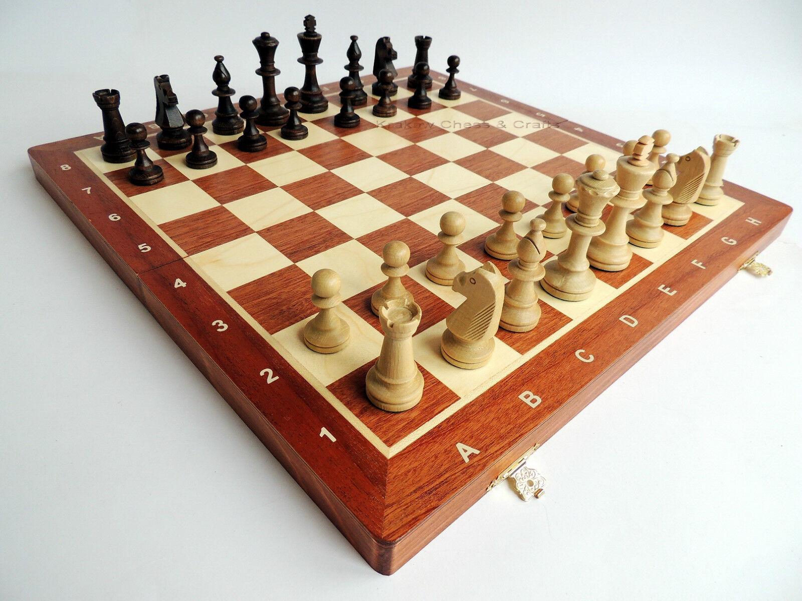 NEU Wegiel Turnier Nr 5 Schachspiel aus Holz 47cm with gewogenen Stücke
