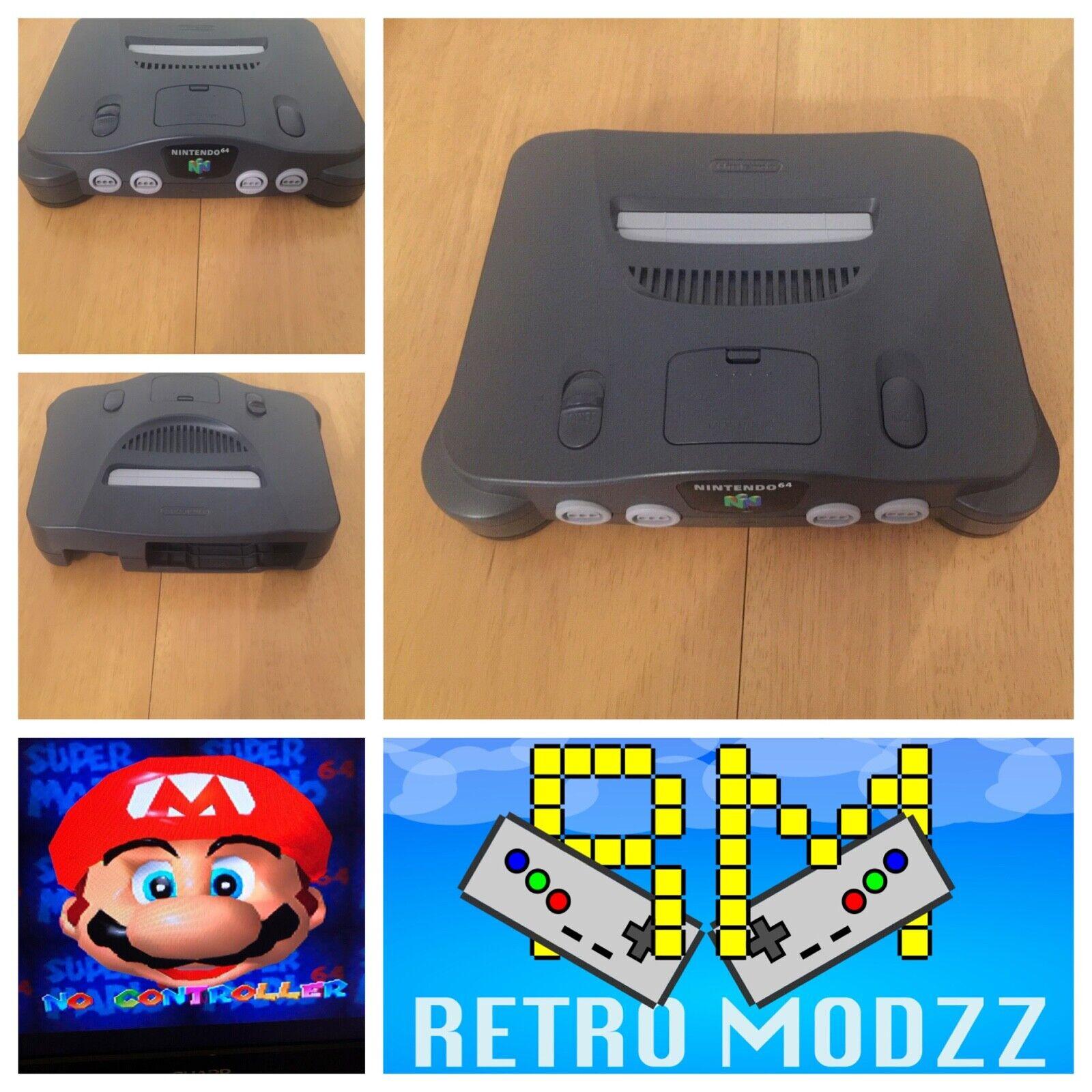videogiochi e console: Nintendo 64 N64 Grey Games Console PAL RGB Board Upgraded DeBlur Tim Worthing