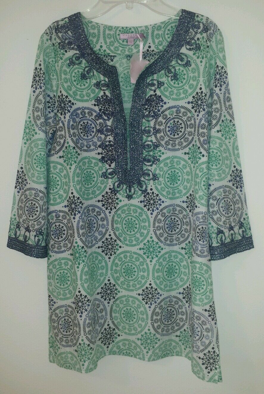 CALYPSO ST BARTH EMBROIDErot HESTER COLIMA PRINT TUNIC  XS, Orig , NWT