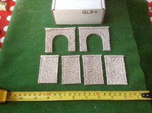 2x Tunnel & 4 Walls -n Scale -pebble Stone Style- Painted Set, Single Track