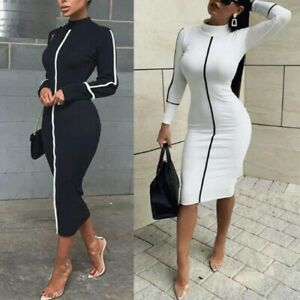 Women-Sexy-Club-Bodycon-Dress-Sheath-Casual-Fashion-Party-Office-Work-Long-Dress