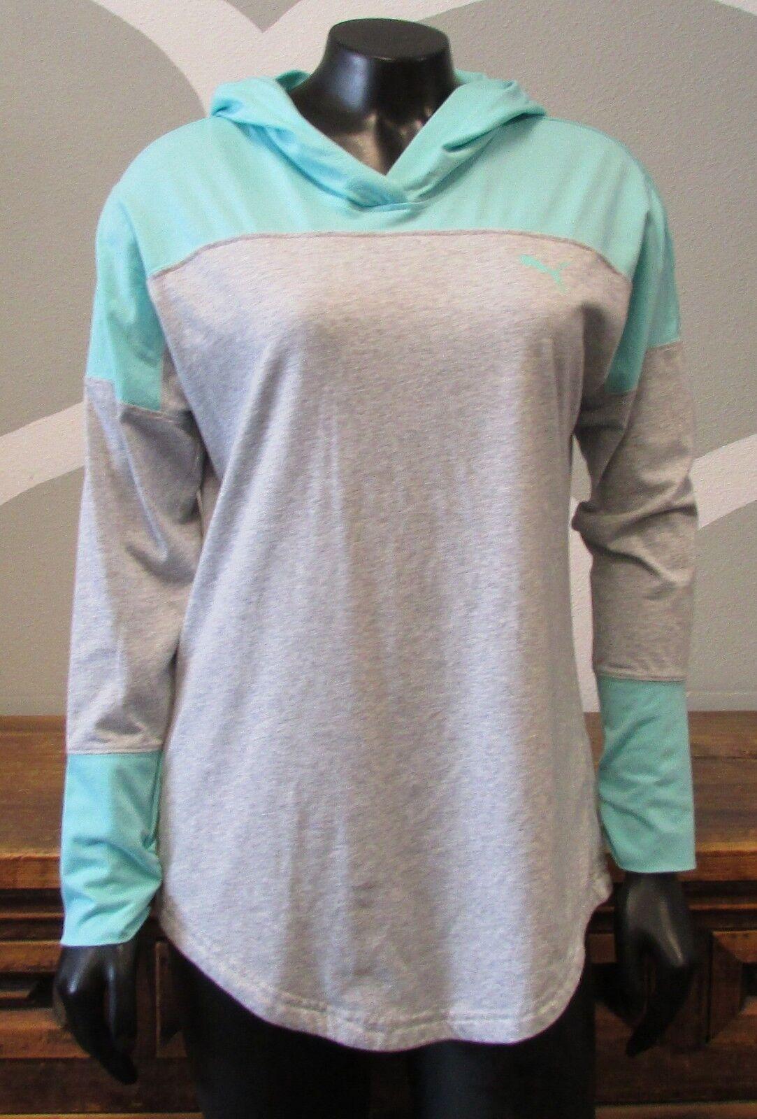 PUMA Gray Teal Pullover Hooded Athletic Running Top - Medium