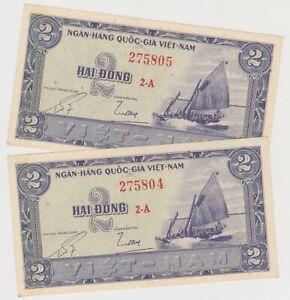 Mazuma *F809 Vietnam 1956 2 Dong 2A 275804-05 UNC Foxing 2 Running