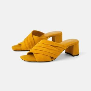 NEW Zara Yellow Mules suede leather