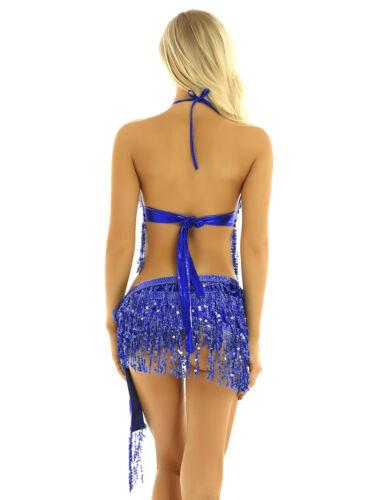 Women Sequin Tassels Belly Dance Bra Top Halter Fringe Hip Skirt Rave Costume