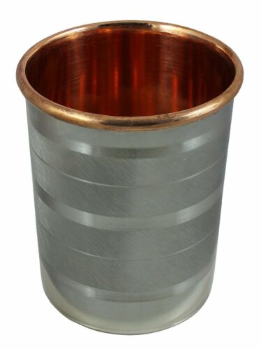 Copper SS Ayurvedic Glass Cup Storage Drinking Water health Yoga Free Shipping
