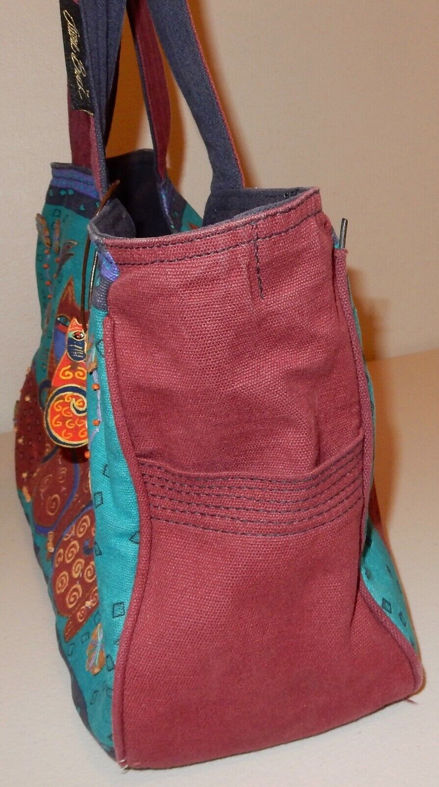Laurel Burch Cat Tote Bag & Pouch Used - image 5
