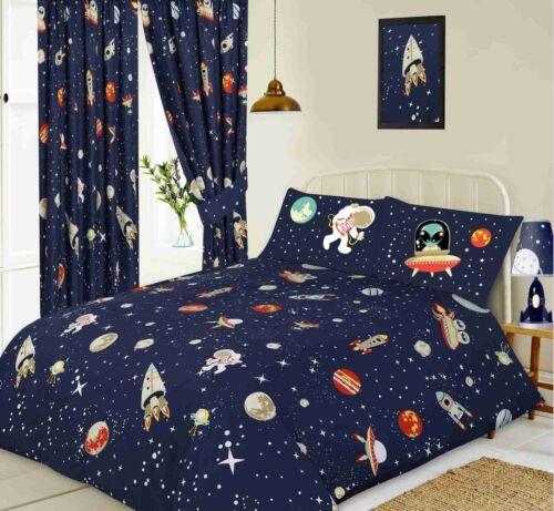 Parure de Lit Simple Double King Taille Espace Planètes lune bleu marine Rideau