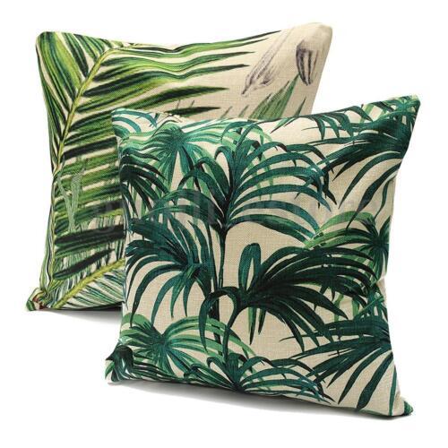 "Tropical Banana Green Leaves Linen Cushion Cover Sofa Throw Pillow Case 18/""//45cm"
