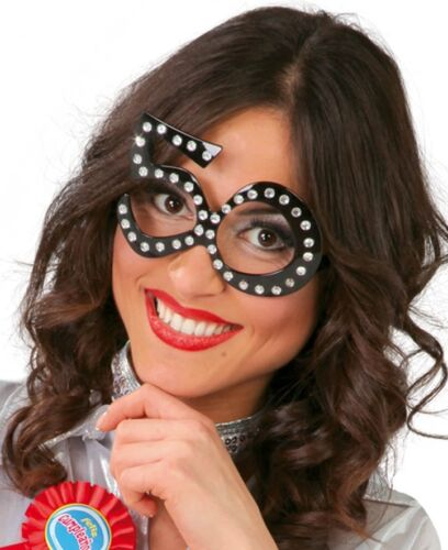 Ladies Black 18th 30th 40th 50 60th Birthday Fancy Dress Costume Outfit Glasses