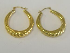 Details About Vintage 14k Gold Hoop Earrings