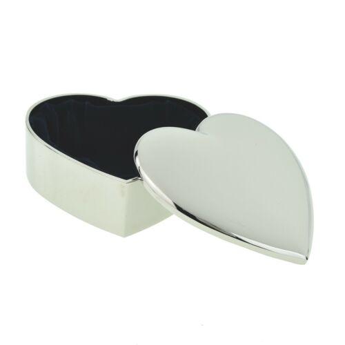 Hermoso Grabado Personalizado chapado en plata en forma de corazón caja de la baratija XAC33