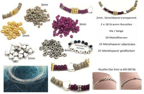 /& Namensarmband 6 teiliges Set für Armbänder mit 2m Strechband für Glücks