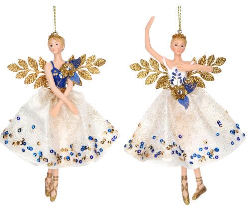 2 x Gisela Graham BlueGold Hanging Resin Fairy Christmas Tree Decoration 17cm
