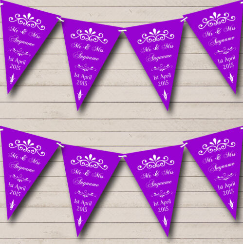 Vintage Regal Engagement Purple Personalised Engagement Party Bunting Banner
