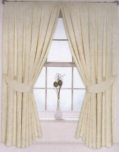 Long Cream Curtains 90 X 108 Drop Pencil Pleated Floral Fully Lined Tie Backs