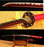 41'1095 CARBON STEEL RED BLADE IRON TSUBA JAPANESE SAMURAI SWORD KATANA SHARP