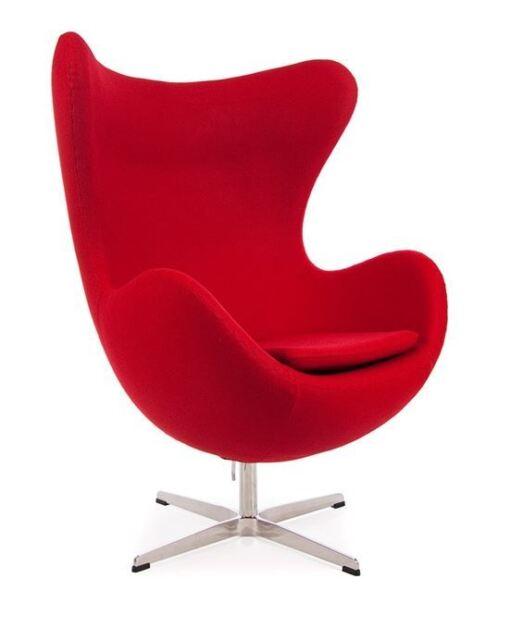 Fauteuil type EGG Arne Jacobsen design rouge neuf swan ball