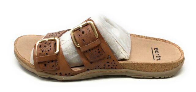 Earth Origins Womens Sand Antigua Slide Sandals Alpaca Brown Leather Size 8 M