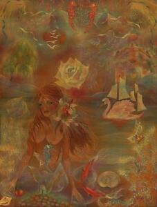 VINTAGE NUDE MERMAID COTTAGE GARDEN SWAN SEA HORSE ROSE OCEAN BOTANICAL PAINTING