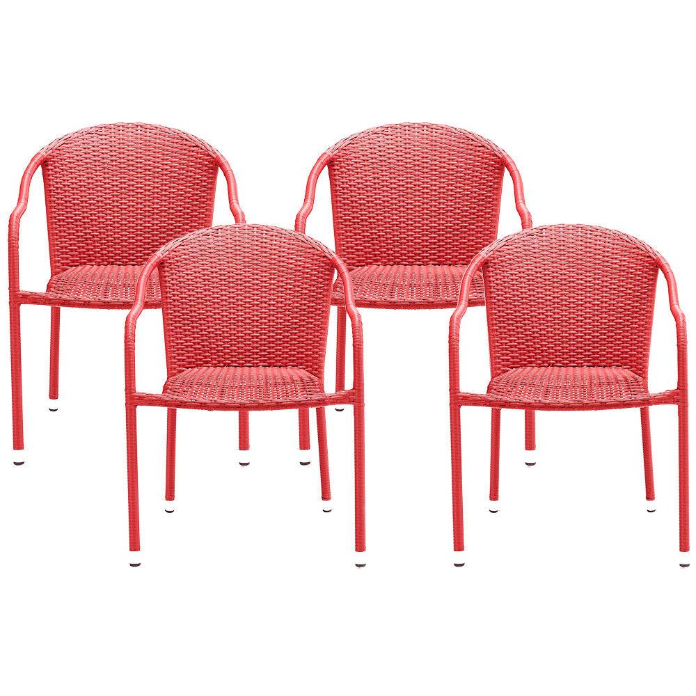 Crosley CO7109-RE Palm Harbor al aire libre mimbre apilable sillas-Rojo - 4pc