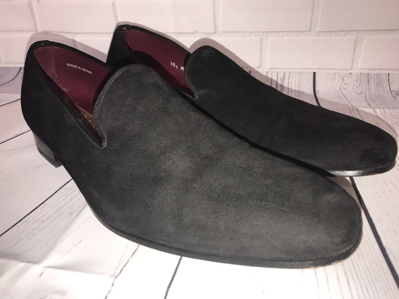 Mezlan Black Suede Tuxedo Loafers Driving shoes Men's 10.5 Made In Spain 37921