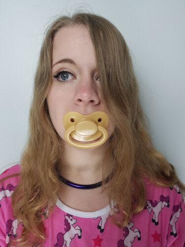 Adult Pacifier Soother Dummy from the dotty diaper company bronze with sparkles
