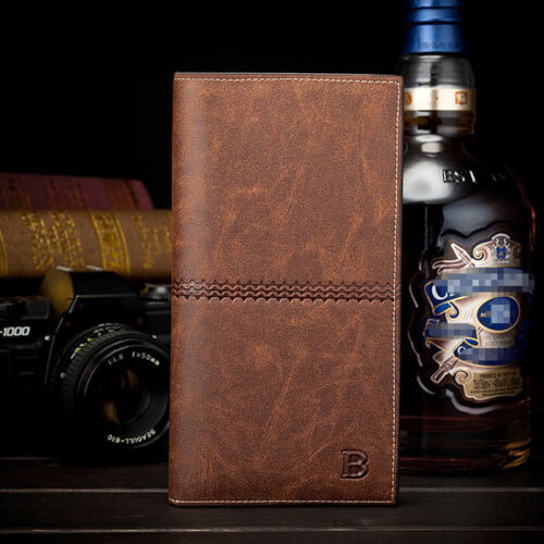 Men/'s Leather Bifold ID Card Holder Long Wallet Purse Checkbook Clutch Billfold